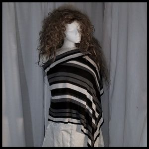 Off Shoulder Poncho Black, White, and Gray Stripes